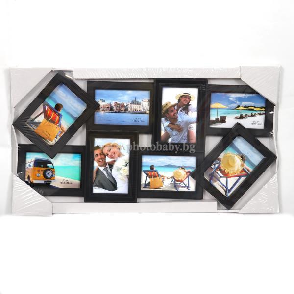 Черна Колажна Рамка с вашите 8бр снимки - Фото Рамки