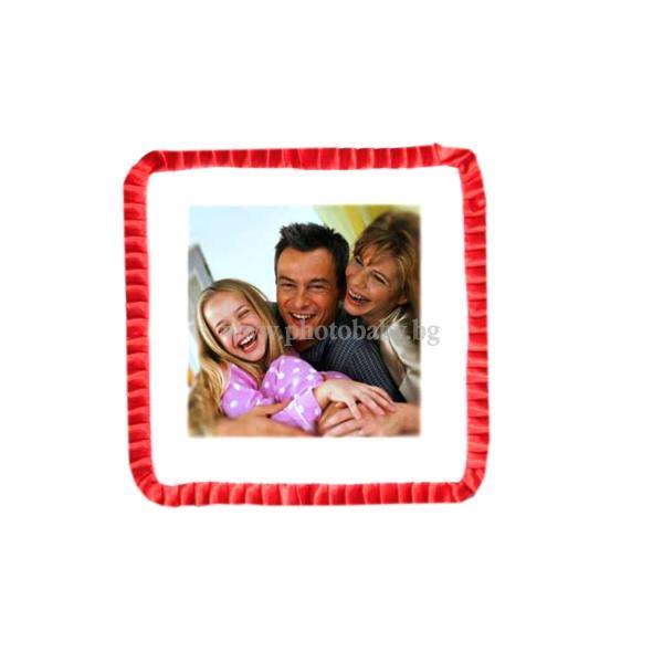 Възглавница със снимка бял сатен с червен кант - Подаръци със снимка или текст, 8-ми март
