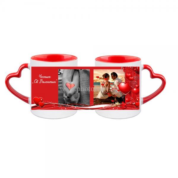 Бяла керамична чаша със снимка червена дръжка форма сърце - Чаши със снимка, Чаши със снимка, Св.Валентин