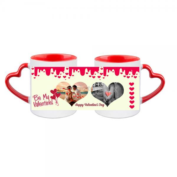 Бяла керамична чаша със снимка червена дръжка форма сърце - Чаши със снимка, Чаши със снимка