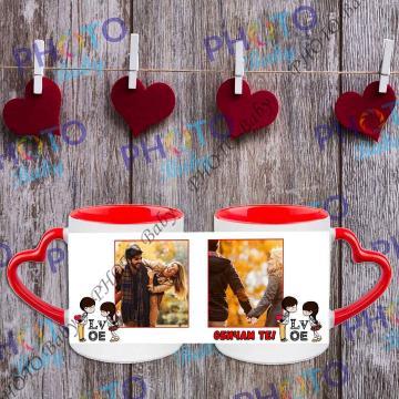 Бяла керамична чаша със снимка червена дръжка форма сърце - Св.Валентин