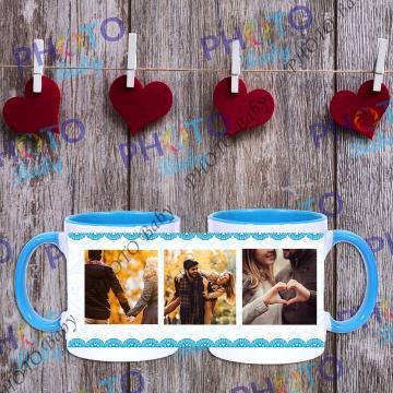 Бяла керамична чаша със снимка или текст със синя дръжка и вътрешност - Св.Валентин
