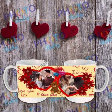 Бяла керамична чаша със снимка или текст - Св.Валентин