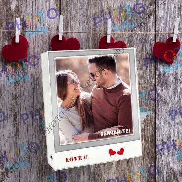 Светеща  квадратна магическа огледална рамка с надпис Обичам те - Св.Валентин