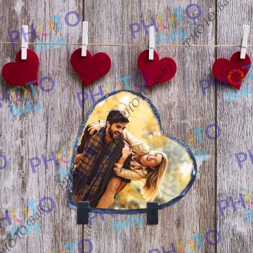 Камък във форма на сърце със снимка или текст - Св.Валентин