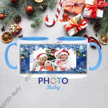 Коледна бяла  чаша със снимка или текст - Синя  дръжка и вътрешност - Чаши със снимка, Коледа