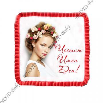 Възглавница със снимка бял сатен с червен кант - Цветница