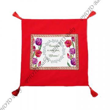Възглавница със снимка или червен плюш  - Цветница