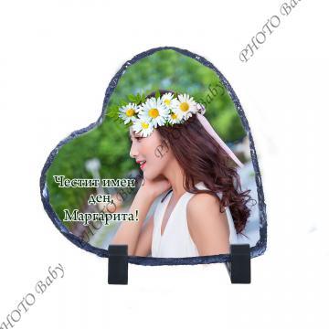 Камък във форма на сърце със снимка или текст - Цветница
