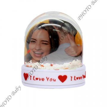 Снежен гобус - Обичам те - Подаръци със снимка или текст, Цветница, Великден, Тодоровден, Св.Валентин, 8-ми март